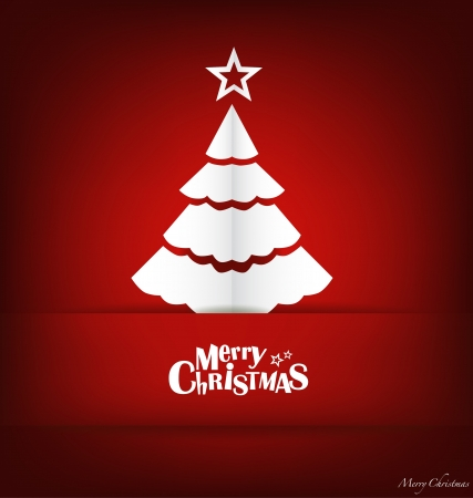 Merry Christmas postcard with origami Christmas tree, vector illustration  Vector