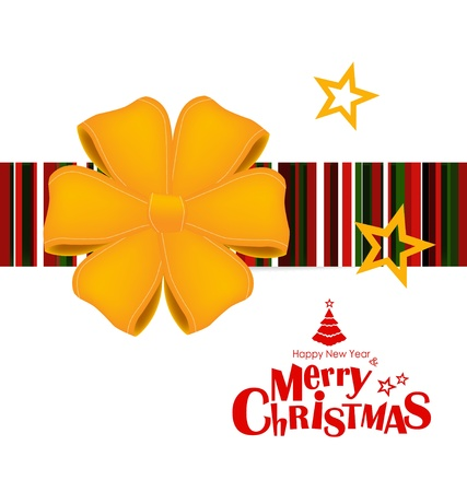 Happy New Year and Merry Christmas postcard with red ribbon, vector illustration Stock Vector - 16603047