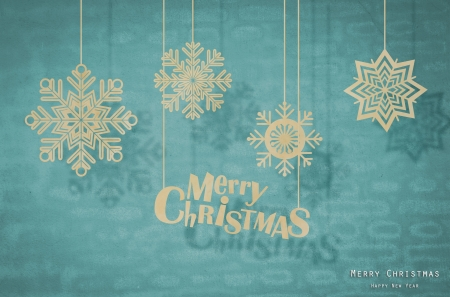 Paper cut of snowflakes for merry christmas and happy new year photo