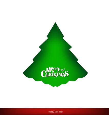 Merry Christmas greeting card with Christmas tree Stock Vector - 16690359