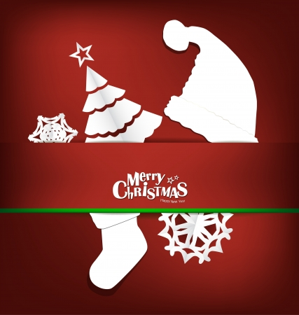 Merry Christmas greeting card with Christmas decoration Vector
