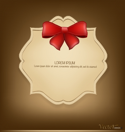 Greeting card with red bow. Vector illustration Vector