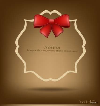 Greeting card with red bow. Vector illustration Stock Vector - 16767950