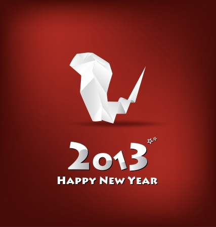 2013 New Year greeting card with origami snake, vector illustration. (Year of snake) Vector