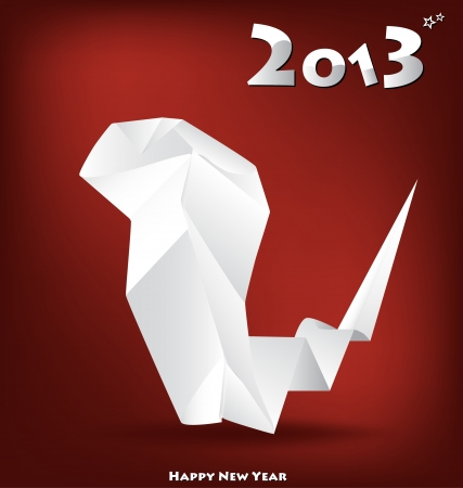 snake origami: 2013 New Year greeting card with origami snake, vector illustration. (Year of snake) Illustration