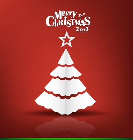 Merry Christmas greeting card with origami Christmas tree, vector illustration. Stock Vector - 16767963