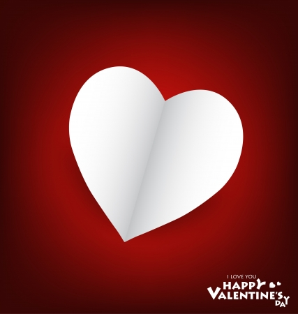 Valentine's day card with Heart Paper. Vector illustration Stock Vector - 16770680