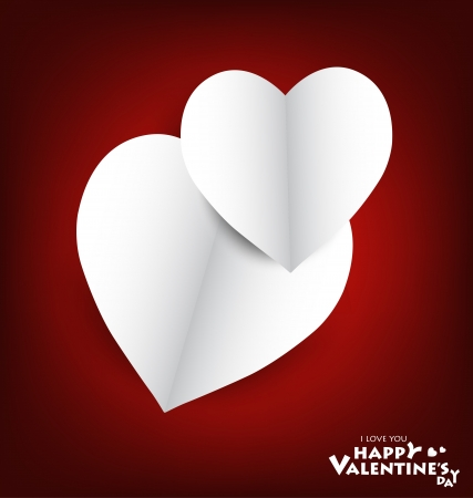 Valentine's day card with Heart Paper. Vector illustration Stock Vector - 16770684