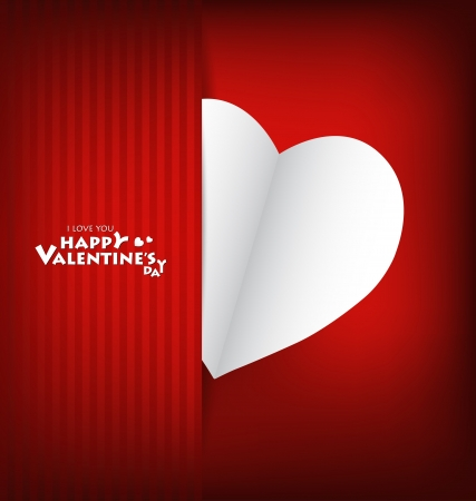 Valentine's day card with Heart Paper. Vector illustration Stock Vector - 16770685