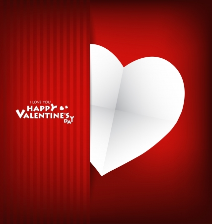 Valentine's day card with Heart Paper. Vector illustration Stock Vector - 16770681