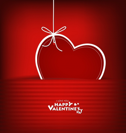Valentine's day card with Heart Paper. Vector illustration Stock Vector - 16770687