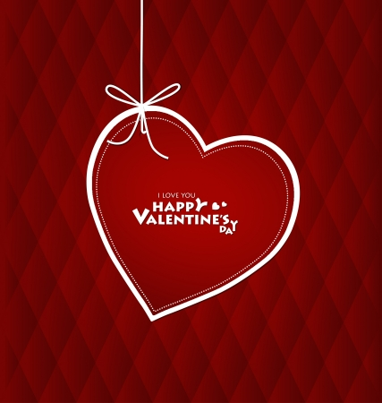 Valentine's day card with Heart Paper. Vector illustration Vector