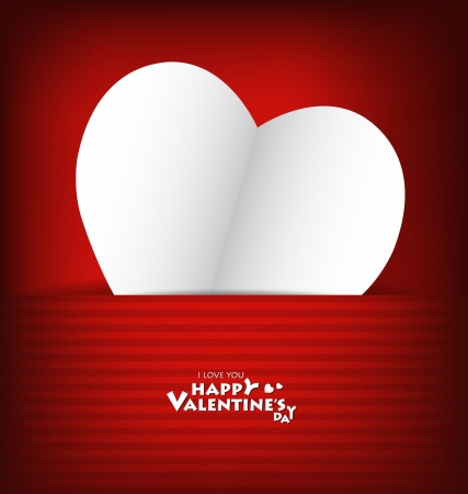 Valentine's day card with Heart Paper. Vector illustration Stock Vector - 16770683