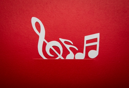 Paper  cut of music note with copy space for text or design Stock Photo - 16833309