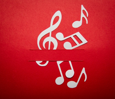 Paper  cut of music note with copy space for text or design Stock Photo - 16833281