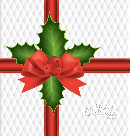 Christmas background with red bow, vector illustration. Stock Vector - 16926133