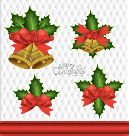 Christmas background with Christmas bells, vector illustration. Stock Vector - 16926136