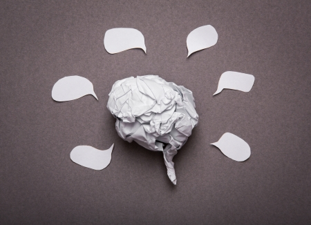lobes: Medical background, Crumpled paper brain shape with copy space for text or design