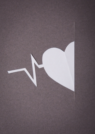 Medical background, Paper cut of Heart and pulse graph with copy space for text or design photo