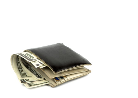 Old black wallet with dollar  isolated on white background Stock Photo - 16991670