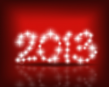 Happy new year 2013 with Red starry firework Vector