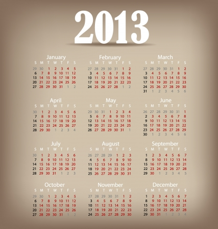 Simple 2013 year calendar, vector illustration. Stock Vector - 16991653