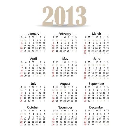 Simple 2013 year calendar, vector illustration. Stock Vector - 16991650