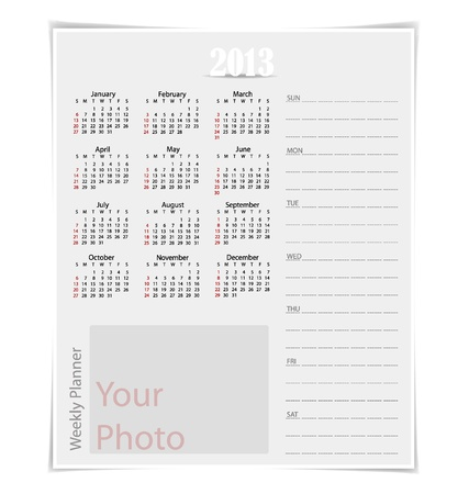 Simple 2013 year calendar, vector illustration. Stock Vector - 16991660