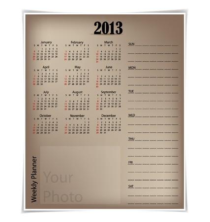 Simple 2013 year calendar Stock Vector - 16991628