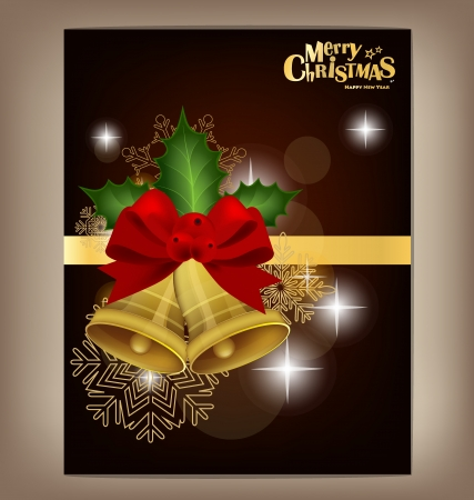 Happy New Year and Merry Christmas postcard with red ribbon, vector illustration. Vector