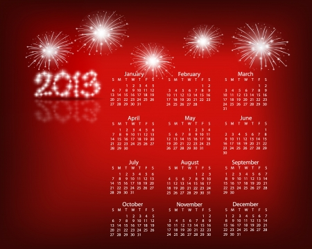Simple 2013 year calendar.  Vector