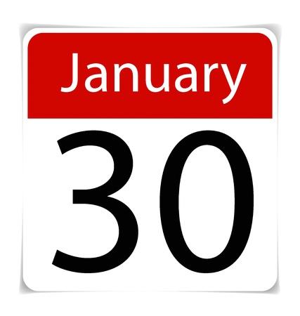 Simple Calendar Date- January 30th Stock Vector - 17101731