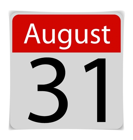 Simple Calendar Date- August 31th Vector