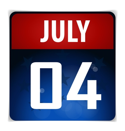 Simple Calendar Date- July 4th Vector