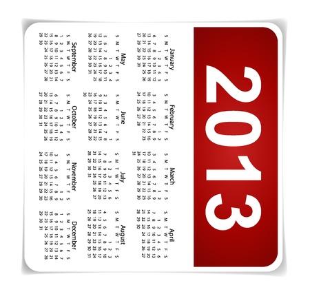 Simple 2013 year calendar Stock Vector - 17101737