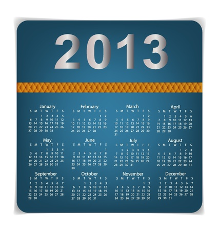 Simple 2013 year calendar, vector illustration. Vector