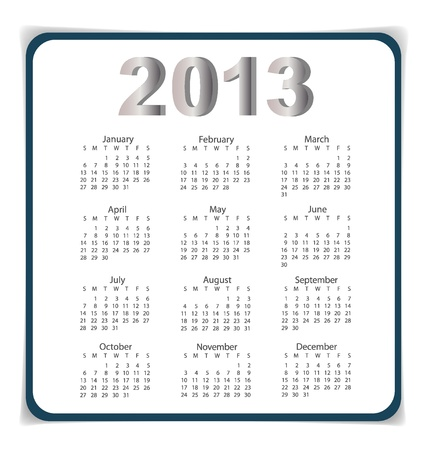Simple 2013 year calendar Stock Vector - 17101766
