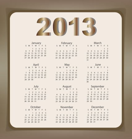 Simple 2013 year calendar Vector