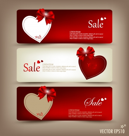 Collection of gift cards and invitations with ribbons.  Vector