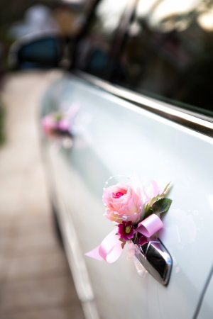 Wedding car with beautiful decorations photo