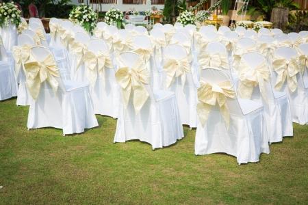 wedding table setting: Wedding ceremony in a beautiful garden