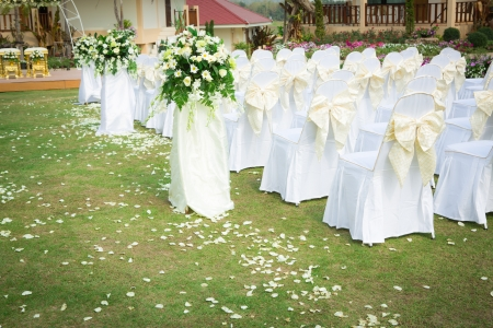 catering table: Wedding ceremony in a beautiful garden