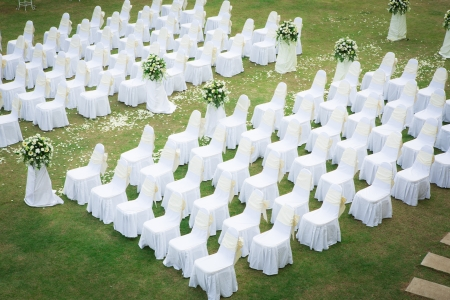the place is outdoor: Wedding ceremony in a beautiful garden