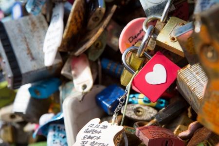 Many heart padlocks love symbol Stock Photo - 17350580