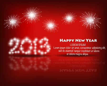 Happy new year 2013 with Red starry firework, vector illustration. Vector