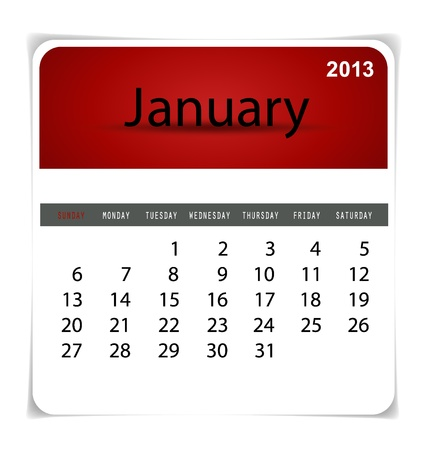 Simple 2013 calendar, January. All elements are layered separately in vector file. Easy editable. Stock Vector - 17350391