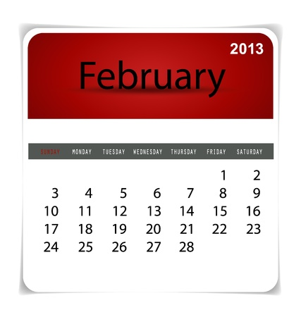 Simple 2013 calendar, February. All elements are layered separately in vector file. Easy editable. Stock Vector - 17350386