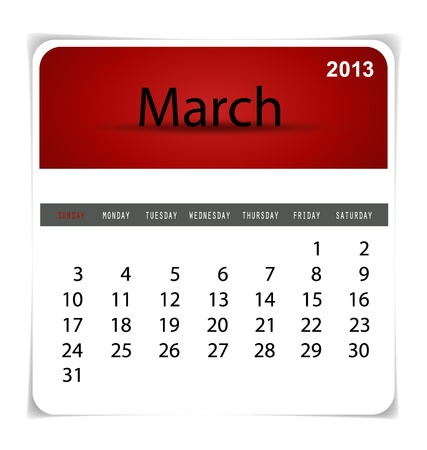 Simple 2013 calendar, March. All elements are layered separately in vector file. Easy editable. Stock Vector - 17350389