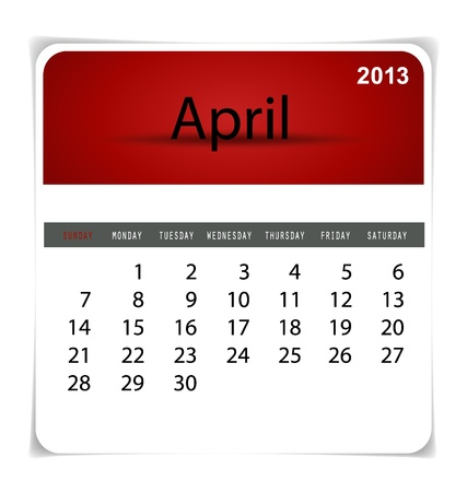 Simple 2013 calendar, April. All elements are layered separately in vector file. Easy editable. Vector
