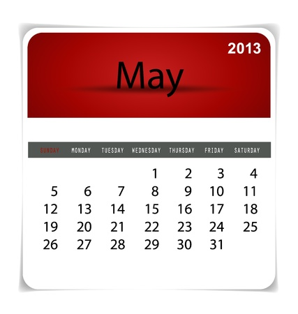 Simple 2013 calendar, May. All elements are layered separately in vector file. Easy editable. Stock Vector - 17350388